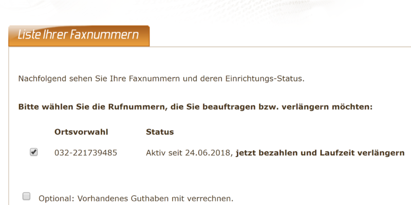 Screenshot der Faxeinstellungen